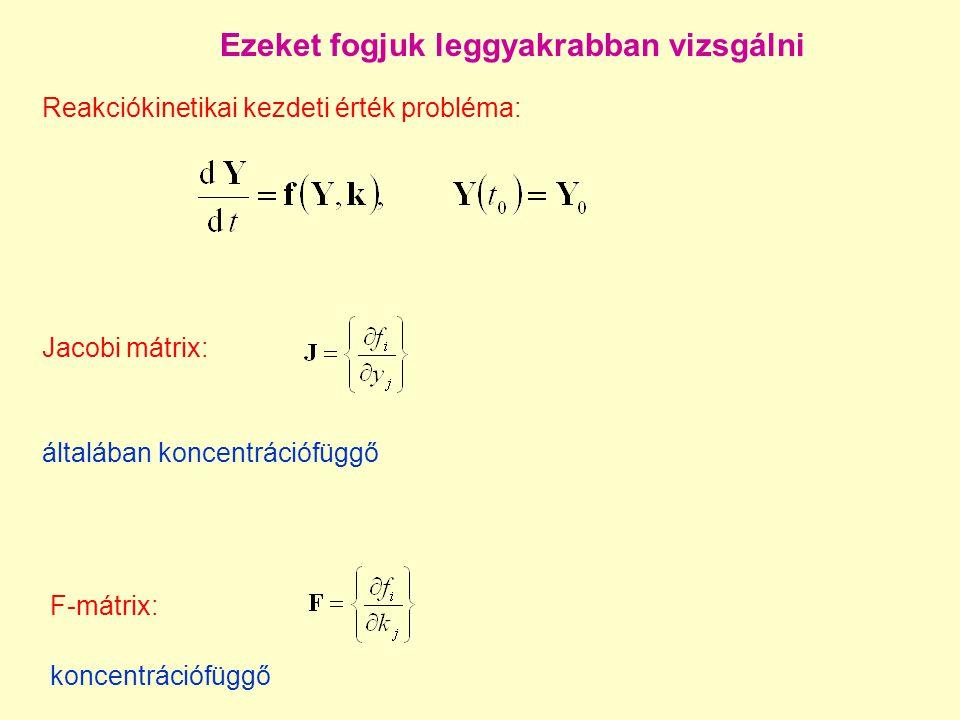 Kinetikai differenciálegyenlet-rendszer: egy példa Belouszov-Zsabotyinszkij oszcilláló reakció (egyik) Oregonátor modellje: 1.X + Y  2 Pk 1 r 1 = k 1 xy 2.Y + A  X + Pk 2 r 2 = k 2 ya 3.2 X  P + Ak 3 r 3 = k 3 x 2 4.X + A  2 X + 2 Zk 4 r 4 = k 4 xa 5.X + Z  0,5 X + Ak 5 r 5 = k 5 xz 6.Z + M  Y – Zk 6 r 6 = k 6 zm X = HBrO 2 Y = Br  Z = Ce 4+ A = BrO 3  P = HOBr M = malonsav 80 reakciólépést tartalmazó mechanizmust lehetett redukálni erre a 6 reakcióra.