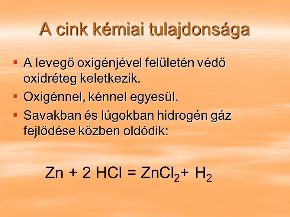 A kadmium kémiai tulajdonságai  Levegőn állandó  Melegebb levegőn sötét oxidréteg keletkezik rajta.