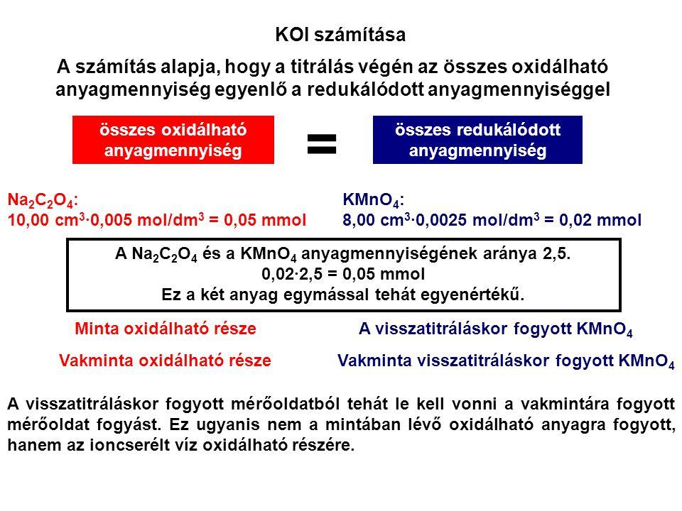 A számítást egyetlen képletbe sűríthetjük: ahol c n (KMnO 4 )mol/dm 3 KMnO 4 mérőoldat névleges koncentrációja V(minta)cm 3 a minta titrálásakor fogyott KMnO 4 térfogata V(vak)cm 3 a vakpróba titrálásakor fogyott KMnO 4 térfogata –KMnO 4 – O 2 anyagmennyiségének aránya M(O 2 )g/molaz oxigén moláris tömege V(pipetta)cm 3 a meghatározáshoz használt minta térfogata 1000mg/gg-ból mg-ba való átszámítás