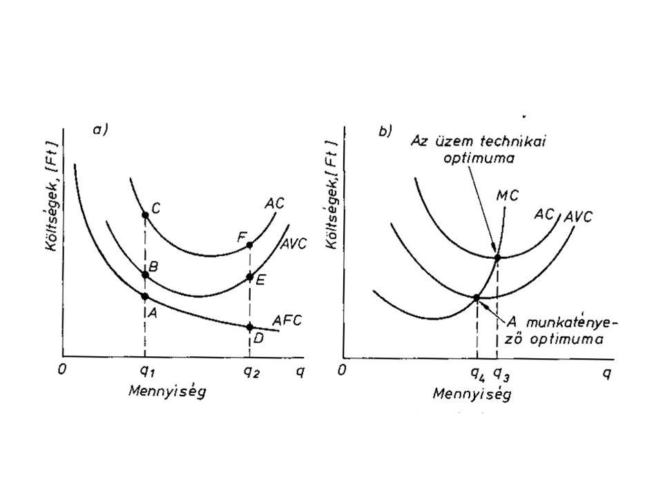 Hosszú távú költségfüggvények valamennyi input mennyisége változtatható A vállalat növekedési útjából vezethető le A vállalt különböző termelési szintjeihez tartozó minimális összköltségének alakulását fejezi ki LTC (q) LAC (q) LMC (q)