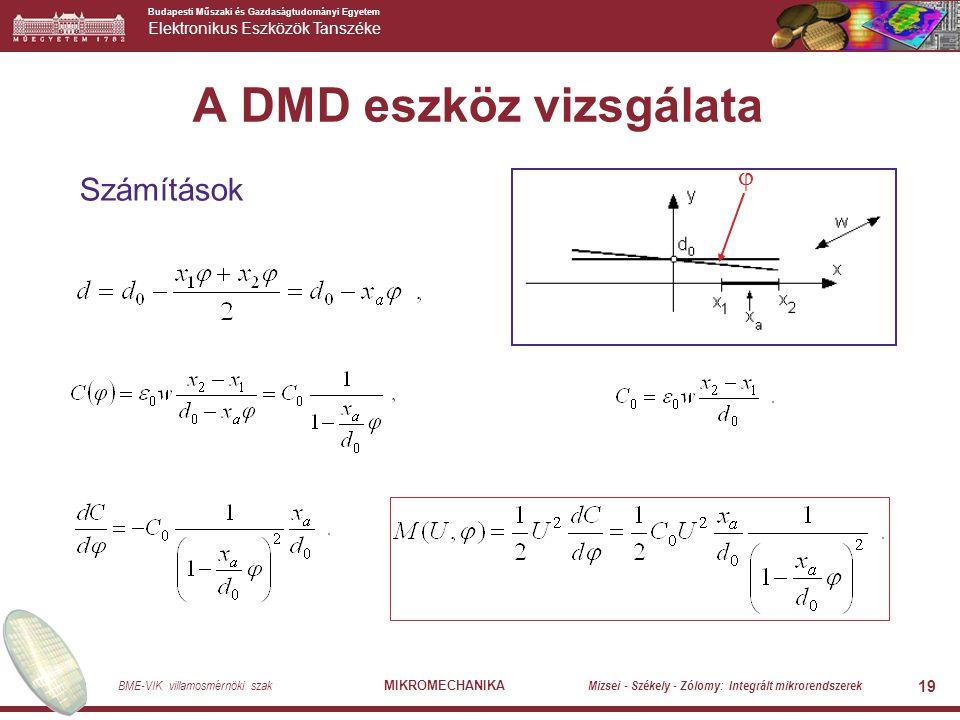 Budapesti Műszaki és Gazdaságtudományi Egyetem Elektronikus Eszközök Tanszéke BME-VIK villamosmérnöki szak MIKROMECHANIKA Mizsei - Székely - Zólomy: Integrált mikrorendszerek 20 A DMD eszköz vizsgálata Példa  x 1 = 10  m x 2 = 20  m w = 40  m d o = 2  m U = 20 V.