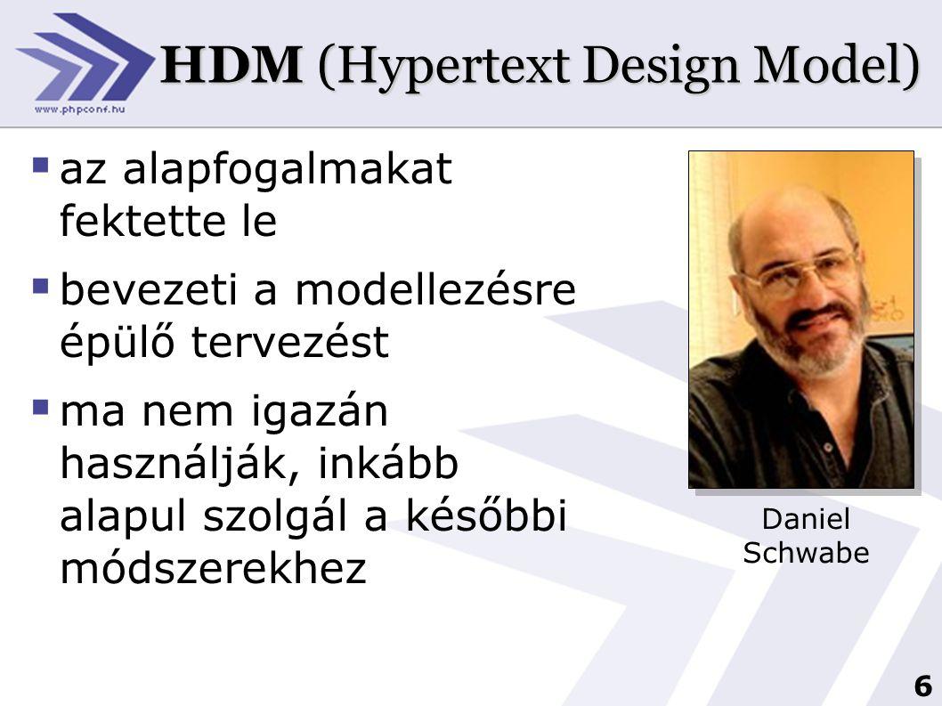 7 W3DT (World Wide Web Design Technique)  nagy méretű honlapok tervezése specializálódott  adatbázis-szerű és információ-központú tervezést tesz lehetővé  kezdő tervezők számára is viszonylag könnyen áttekinthető Dr.
