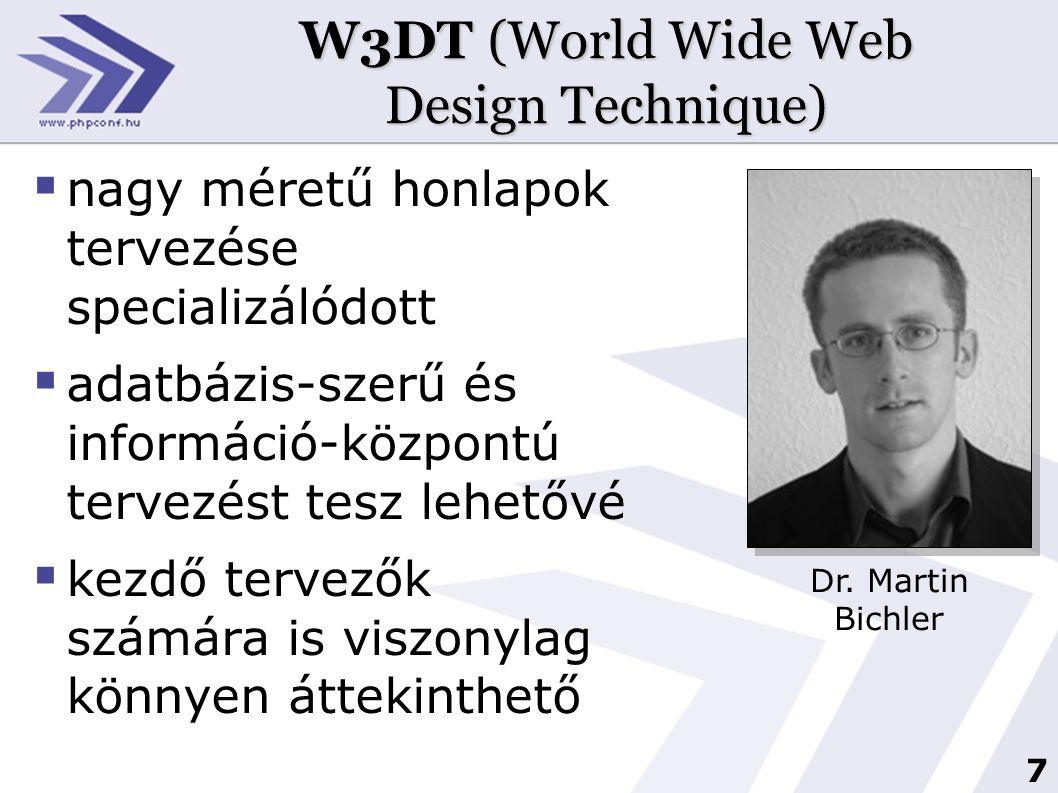 8 A W3DT fejlesztési folyamata forrás: Reinhard Jung, Robert Winter: Case for Web Sites