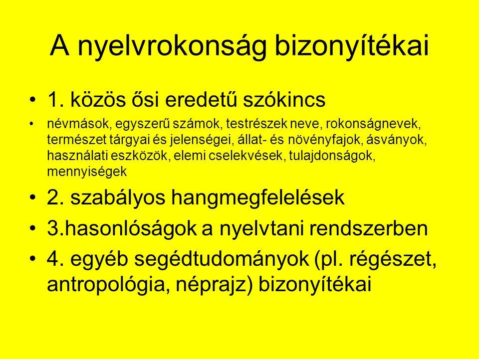 A finnugor nyelvcsaládba tartozó nyelvek nyelvtani rendszerének közös jellemzői nagyszámú toldalék használata, vagyis agglutinációagglutináció számos nyelvtani eset használata (az indoeurópai 4-7 esetnél jóval több, a magyarban például 18)nyelvtani esetindoeurópai magyarban magánhangzó-harmónia (hangrend) az ősi szavaknálmagánhangzó-harmónia nincs nyelvtani nemnyelvtani nem a jelző megelőzi a jelzett szótjelző a jelző nincs egyeztetve a jelzett szóval, pl.