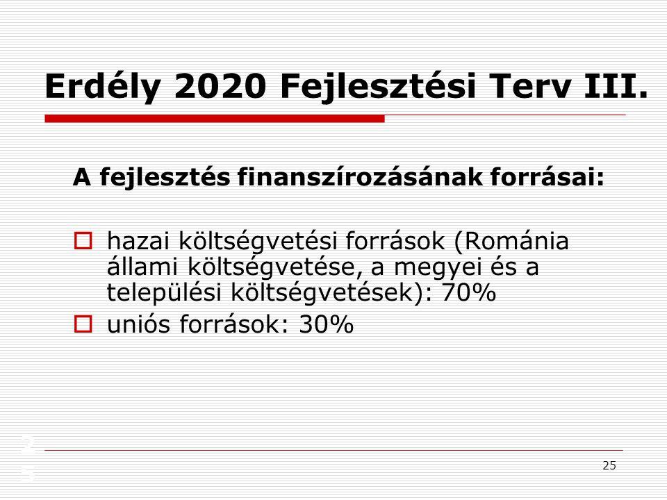 26 26 Erdély 2020 Fejlesztési Terv IV.Erdélyi jövőkép.