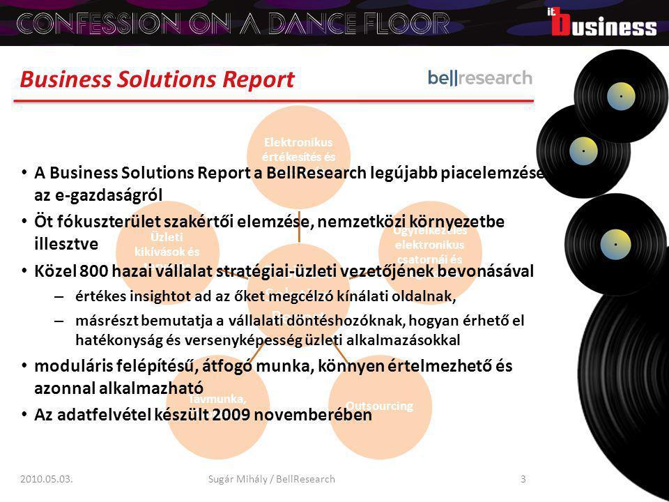 Előnyök a kínálati oldalnak 2010.05.03.Sugár Mihály / BellResearch4 Átfogó helyzetelemzés: infokommunikációs felkészültség, piac fejlettsége, a legelterjedtebb infokom megoldások, a vállalati folyamatok informatizáltsága, készenlét új technológiák bevezetésére Pontos targetálás: az e-megoldások elterjedtsége, hol várható további fejlesztés, vagy teljesen új infokom-megoldások bevezetése Vevőorientált termékfejlesztés: vevői igények és elvárások Értékesítési érvek: üzleti döntéshozók meggyőzése, megfelelő megoldás/beszállító kiválasztása, megfelelő garancia, biztonság Megalapozott tervezés: piacméret, potenciális vásárlók, mire alapozható az üzleti terv Válság-hatáselemzés: cégek reakciói, fejlesztés, beruházás, mint az előre menekülés eszköze