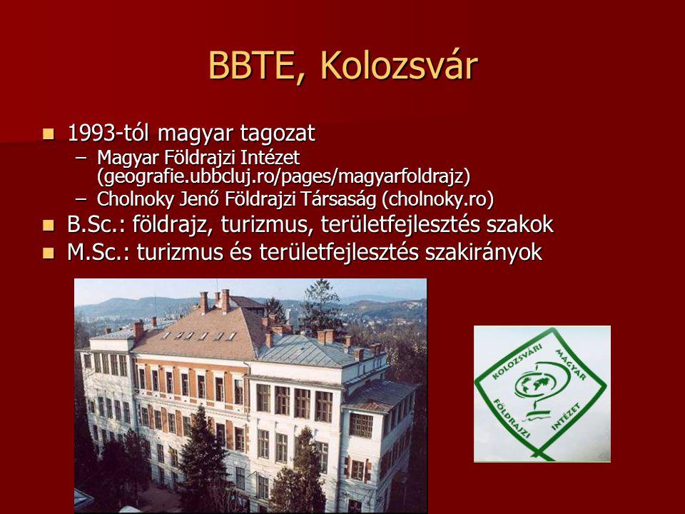 BBTE, Kolozsvár Imecs Zoltán: Imecs Zoltán: –B.Sc.: Térinformatika, Távérzékelés, Kataszter –M.Sc.: Térinformatika (2 félév) Bartos-Elekes Zsombor – –B.Sc.: Térképészet, Helynévtan – –M.Sc.: Térképszerkesztés (2 félév: általános, tematikus) Közös GPS-terepgyakorlatok ELTÉ-vel 2004 óta Térképtár (szakkollégium, TDK) Részképzés (CEEPUS, ERASMUS)