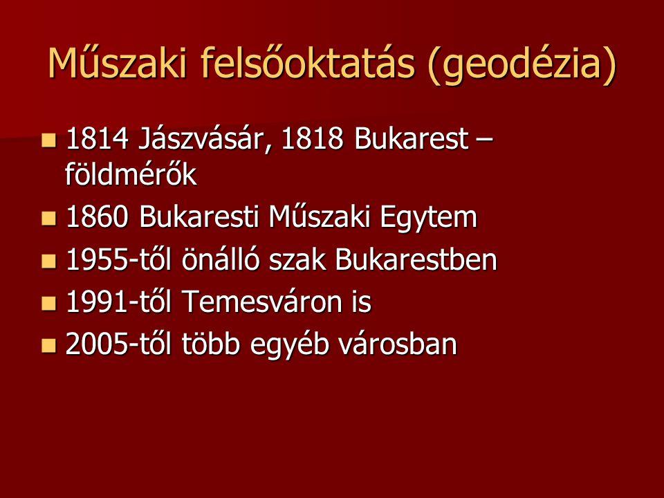 Geodézia Kar, Bukarest 1955–: Bukaresti Építőmérnöki Egyetem, Geodéziai Kar 1955–: Bukaresti Építőmérnöki Egyetem, Geodéziai Kar –geodezie.utcb.ro B.Sc.