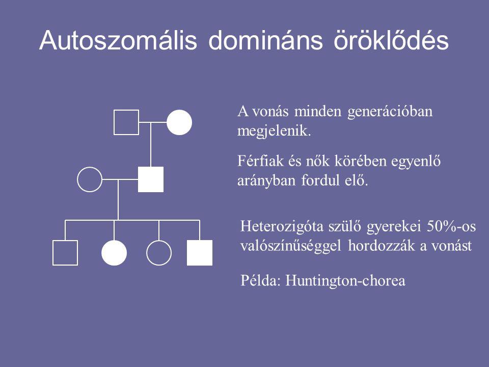 """Autoszomális recesszív öröklődés A fenotípus """"átugrik generációkat."""
