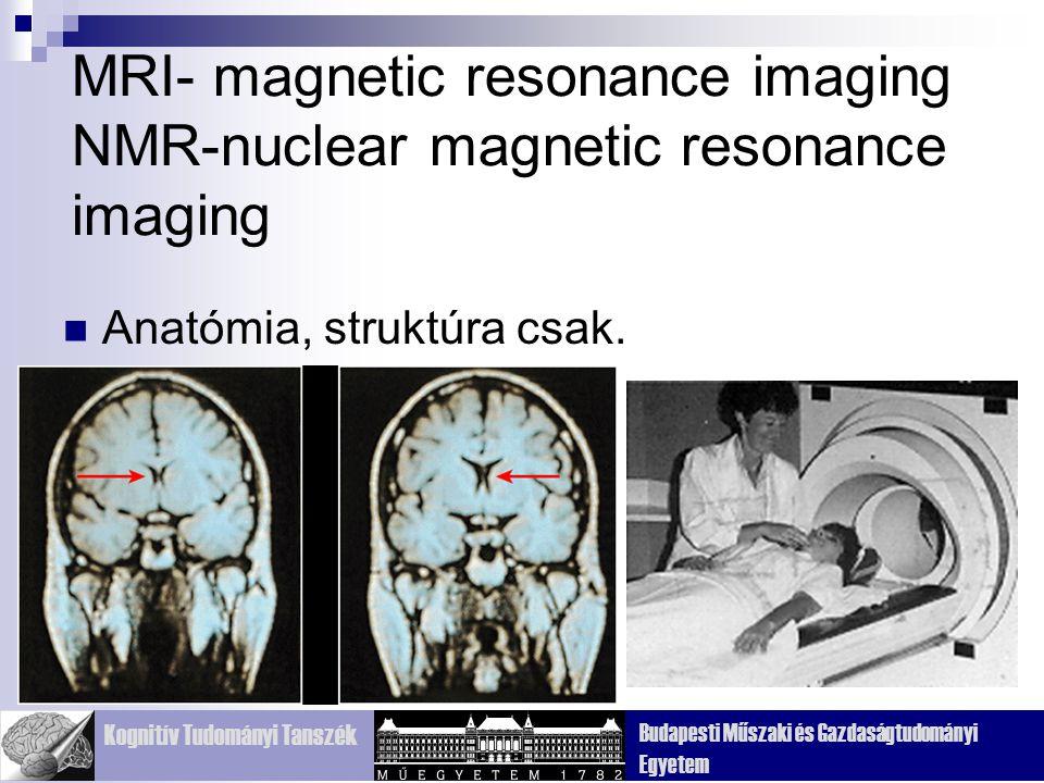 Kognitív Tudományi Tanszék Budapesti Műszaki és Gazdaságtudományi Egyetem MRI- magnetic resonance imaging NMR-nuclear magnetic resonance imaging Anatómia, struktúra csak.