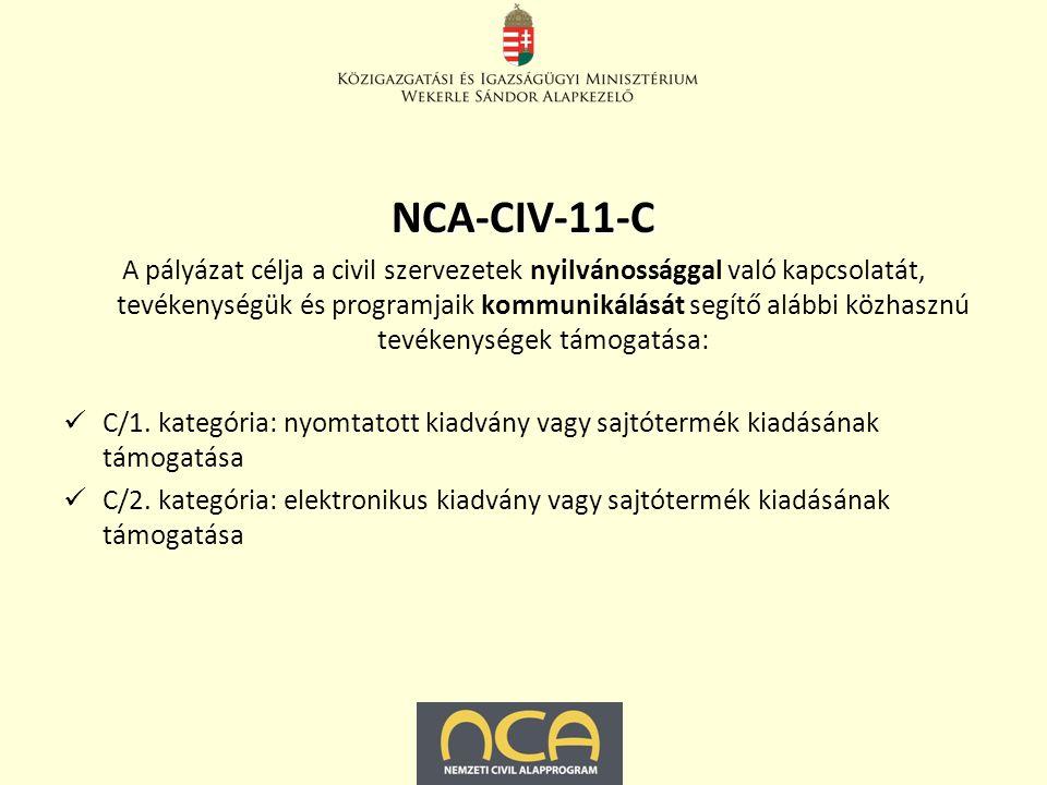 NCA-CIV-11-C A pályázat célja a civil szervezetek kapacitásfejlesztését, szakmai fejlődését, humánerőforrás ellátottságát, szervezeti fejlődését segítő alábbi közhasznú tevékenységek támogatása: Oktatás, képzés, tréning szervezése, lebonyolítása