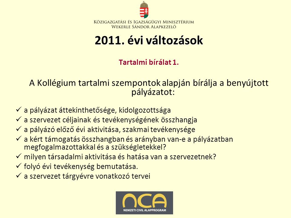 2011.évi változások Tartalmi bírálat 2.