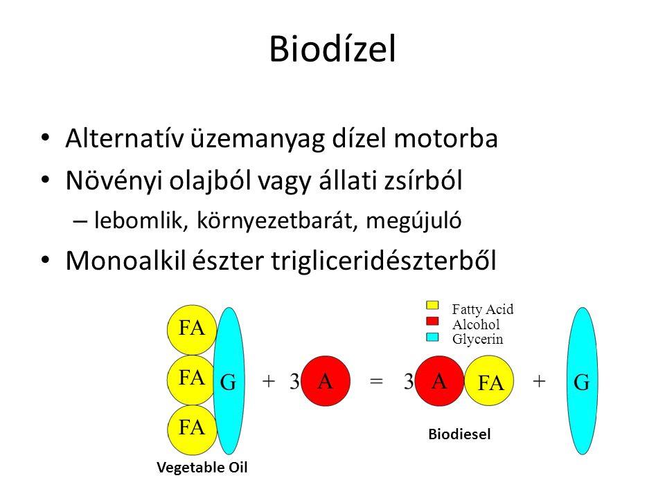 Biodízel Rudolf Diesel: – földimogyoró olaj Ma: – növényi olaj vagy átészterezett – tiszta biodízel (B100) vagy keverhető dízel olajjal Meglevő motorokban meglevő elosztóhálózaton