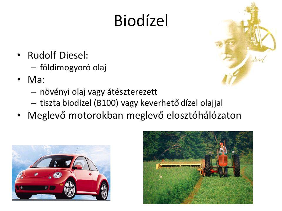 Megújuló, környezetbarát 020406080100120140160 % Benzin Földgáz Dízel Etanol 85% B20 Elektromos B100 B100 = 100% Biodízel B20 = 20% BD + 80% DO Relatív CO 2 emissziók