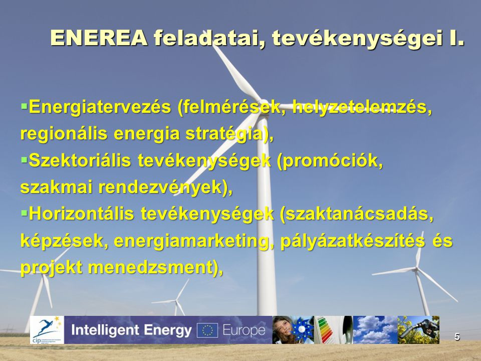 ENEREA feladatai, tevékenységei II.