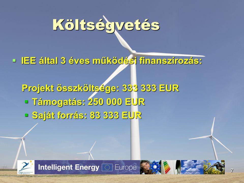 Projektekben való részvétel  Nemzetközi:  Intelligens Energia-Európa Program  HU-RO-SK-UA ENPI Határon Átnyúló Együttműködési Program  Hazai:  KEOP  Norvég Alap  Baross Gábor pályázat 8