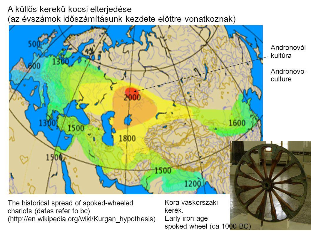 Az andronovói kultura (időszámításunk elött 2300-1000) földrajzi kiterjedése Geographic extent of the Andronovo-culture http://en.wikipedia.org/wiki/Andronovo_culture Ural hegység (Ural Mountains) Aral tó (Aral sea) Kaszpi tenger (Caspian sea) Altáj hegység (Altai Mountains) Altáji (török, mongol, tunguz,koreai, japan) nyelvcsalad őshazája.