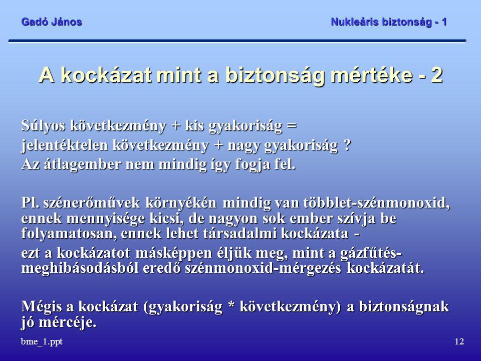 Gadó János Nukleáris biztonság - 1 bme_1.ppt13 A kockázat meghatározásának bizonytalanságai - 1 Az esemény-gyakoriság meghatározásának korlátai vannak - a kis valószínűségű eseményekre nincs statisztika.