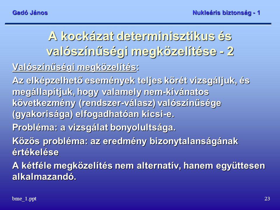 Gadó János Nukleáris biztonság - 1 bme_1.ppt24 Az atomerőművek biztonságának alapvető elvei - 1 A legfontosabb elv: az atomerőművek biztonsága legyen a társadalom számára elfogadható.