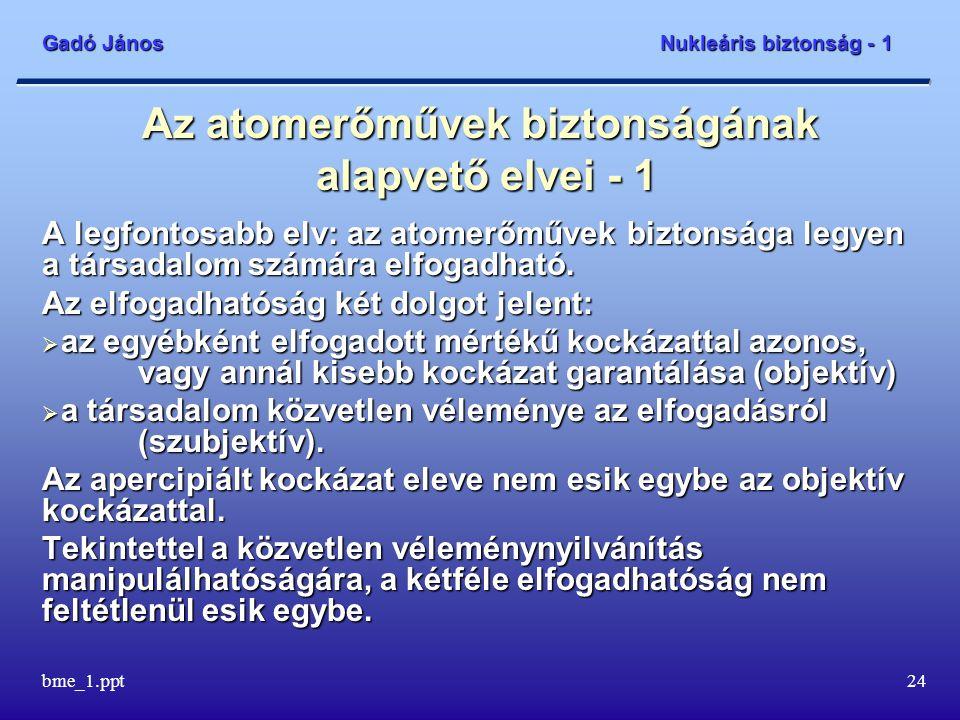Gadó János Nukleáris biztonság - 1 bme_1.ppt25 Az atomerőművek biztonságának alapvető elvei - 2 Általános biztonsági cél: A lakosság egyedei és csoportjai, valamint a környezet védelme biztosított legyen az ionizáló sugárzás veszélyével szemben.