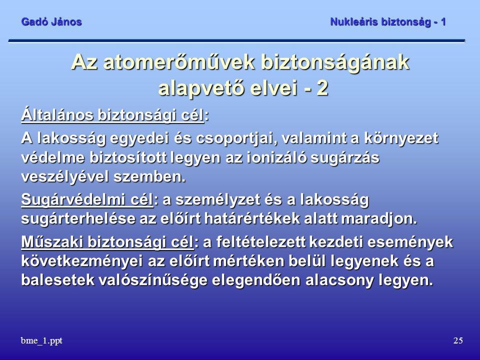 Gadó János Nukleáris biztonság - 1 bme_1.ppt26 Néhány alapfogalom - 1 Üzemállapotok: Tervezési alaphoz tartozó üzemállapotok: ezekre készült az erőmű terve Normál üzem - a blokk a normál üzemeltetési határokon belül működik (stacioner vagy tranziens módon) Várható üzemi esemény - a blokk működésében többször, akár évente előforduló zavar Tervezési üzemzavar - a blokk működésében esetleg előforduló zavar
