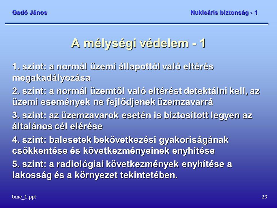 Gadó János Nukleáris biztonság - 1 bme_1.ppt30 A mélységi védelem - 2 A normál üzemi állapottól való eltérés megakadályozása:  az üzemeltetés feltételeinek és korlátainak betartása  a reaktorzóna állapotának folyamatos figyelése  automatikus rúdmozgások  a reaktorvédelmi rendszer figyelmeztető jelzései.