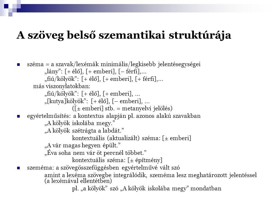 """A szöveg belső szemantikai struktúrája - egyes szémák rekurrenciája (ismétlődése): a koherencia alapja különféle szövegösszefüggésekben más-más szémák dominálnak - domináns szémák = kontextuális szémák/klasszémák domináns szémák – a szöveg más szavaiban is domináns szémák ismétlődése (rekurrencia) : a szövegek koherenciájának előfeltétele - izotópia = homogén jelentés-sík – domináns-rekurrens szémák ismétlődése által koherens szövegekben olyan szavak által jön létre, amelyeket egy domináns széma kapcsol össze fontos az irodalmi szövegekben is: izotópiák (ismétlődő szemantikai jegyek/szémák) feltárása - """"izotópia-törés : egy bizonyos pontig koherens szöveg e ponttól kezdve másik izotópia- síkon folytatódik heterogén izotópiák létrejötte (pl."""