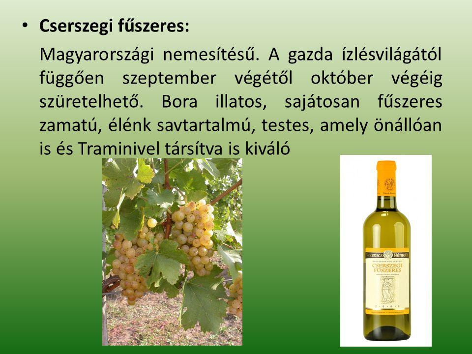 Muscat Ottonel: A szeptember közepén, végén szüretelt szőlő könnyű, üde, friss, erősen muskotály illatú bort ad.