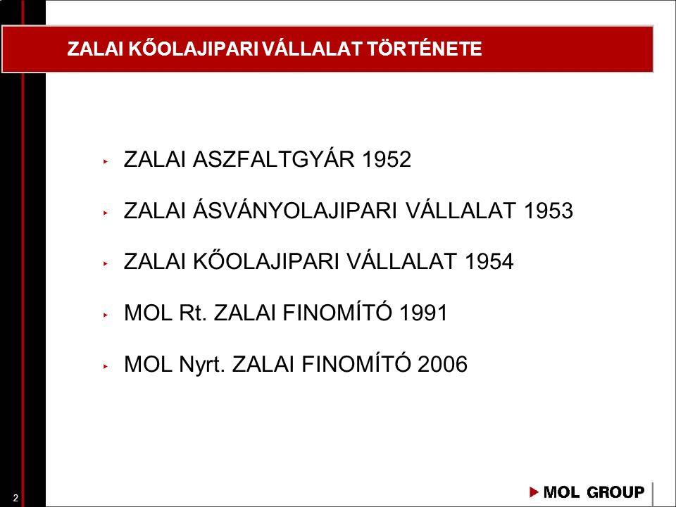 3 ZALAI KŐOLAJIPARI VÁLLALAT TÖRTÉNETE 1950-51 Nagylengyeli kőolajmező kutatása-felfedezése, termelő kutak fúrása, kiképzése Nagyviszkozitású kőolaj csővezetéki szállítása kis távolságra gazdaságos Finomító telepítésZalaegerszegtől délre 74 hektár, Zalaegerszeg - Rédics vasútvonal (vasúti 1952áruforgalom), Válicka - patak (vízkivételezés) Tevékenység Nagylengyeli Kőolajtermelő Vállalat által termelt kőolaj feldolgozása, termékek értékesítése TervezőVEGYTERV KivitelezőÉM 23/5.