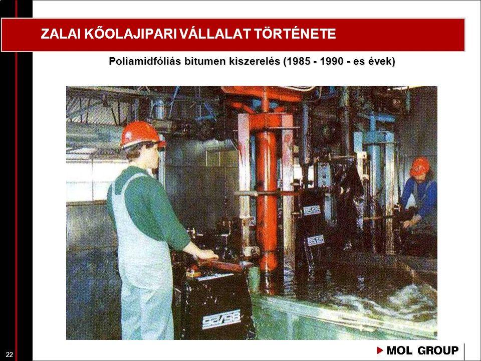 23 ZALAI KŐOLAJIPARI VÁLLALAT TÖRTÉNETE Poliamid fóliazsákos bitumen kiszerelés, hűtés, tárolás, egységrakományok előkészítése zsugorfóliázásra (1985 – 1990 – es évek)
