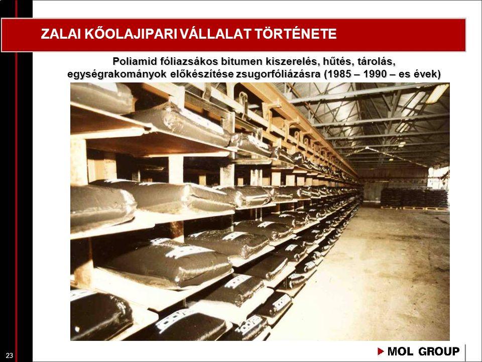 24 ZALAI KŐOLAJIPARI VÁLLALAT TÖRTÉNETE Kiszállításra előkészített fémgöngyöleges-, polietilénfóliazsákos-, poliamidfóliazsákos (zsugorfóliázott), bitumen termékek (1970 - 1990 - es évek)