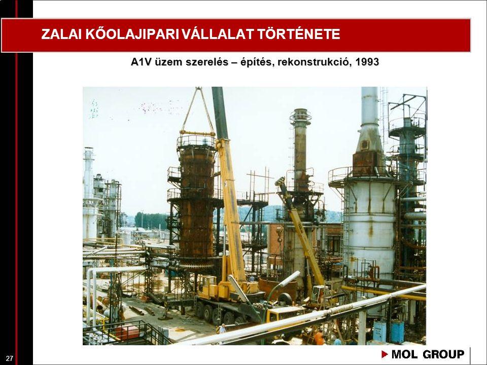 28 ZALAI KŐOLAJIPARI VÁLLALAT TÖRTÉNETE A1V üzem rekonstrukció, üzemátadás, 1994 január 20.