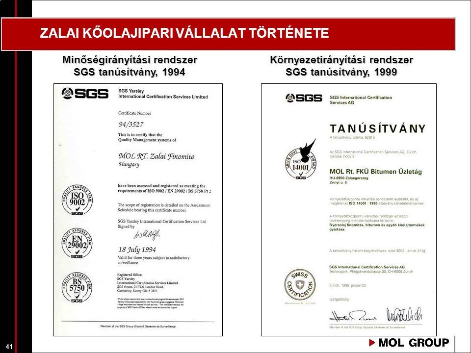 42 ZALAI KŐOLAJIPARI VÁLLALAT TÖRTÉNETE ZÁRTRENDSZERŰ BITUMEN TANKAUTÓTÖLTŐ, 2002