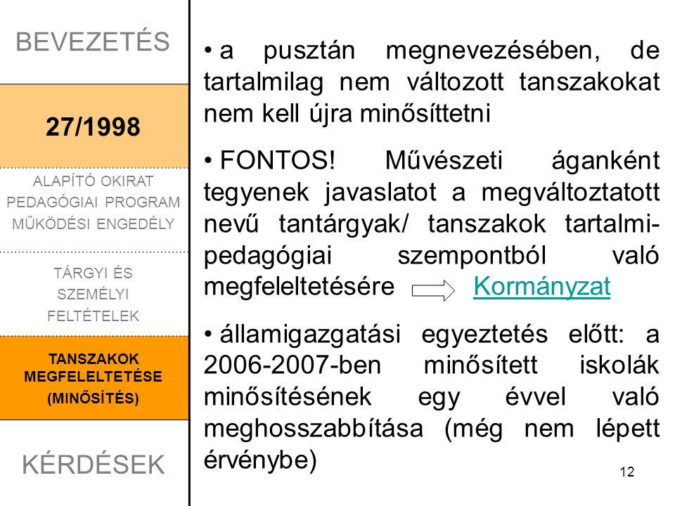 BEVEZETÉS 27/1998 ALAPÍTÓ OKIRAT PEDAGÓGIAI PROGRAM MŰKÖDÉSI ENGEDÉLY TÁRGYI ÉS SZEMÉLYI FELTÉTELEK TANSZAKOK MEGFELELTETÉSE (MINŐSÍTÉS) KÉRDÉSEK 1.KÉRDÉS Kt.117.§ (2) alapján a térítési díjat úgy kell megállapítani, hogy a tanulmányi eredmény alapján csökkentett összeg ne legyen kevesebb, mint a szakmai feladatra számított összeg egy tanulóra jutó hányadának 20%-a.