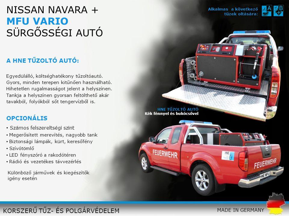 PIAGGIO MP 3 + HNE 10 LITERES KÉSZÜLÉK FIRE SCOOTER KORSZERŰ TŰZ- ÉS POLGÁRVÉDELEM A HNE MOTOROS TŰZOLTÓ: Innovatív tűzoltó jármű a lehető legkisebb méretben: A PIAGGIO MP3 és a HNE 10 literes tűzoltó készülékét kombináltuk és megszületett az új PIAGGO MP 3 +: Költséghatékony, megbízható, gyors Ideális zsúfolt városi környezetben Könnyen navigálható szűk tereken vagy csúcsforgalomban 3 kerék: stabilitást ad nedves, csúszós és egyenetlen utakon Billenésmentes OPCIONÁLIS Biztonsági lámpák, kürt LED fényszóró Elsősegély doboz FIRE SCOOTER PIAGGIO MP3 + HiPRESS 10 L Minden HNE 10 literes készülékkel használható MADE IN GERMANY Alkalmas a következő tüzek oltására: