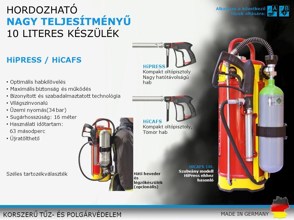 VARIO 10L Levegő és CFK- palackkal FORDÍTHATÓ FÚVÓKACSŐ: PRESS és CAFS + ködpermet Üzemi nyomás(34 bar) Sugárhosszúság: 16 méter Használati időtartam: 63 másodperc Újratölthető KORSZERŰ TŰZ- ÉS POLGÁRVÉDELEM Háti heveder és légzőkészülék (opcionális) MADE IN GERMANY HORDOZHATÓ NAGY TELJESÍTMÉNYŰ 10 LITERES KÉSZÜLÉK Alkalmas a következő tüzek oltására: Széles tartozékválaszték VARIO 10 L Sokoldalú felhasználhatóság Új tűzoltási stratégiákat tesz lehetővé Maximális biztonság és teljesítmény Minden típusú tűznél alkalmazható