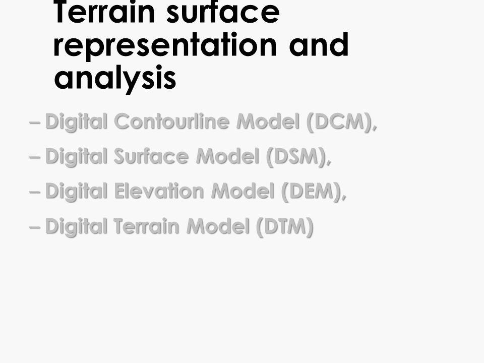 Surface representation: 2, 2.5, 3D DCM DEM DTM DSM