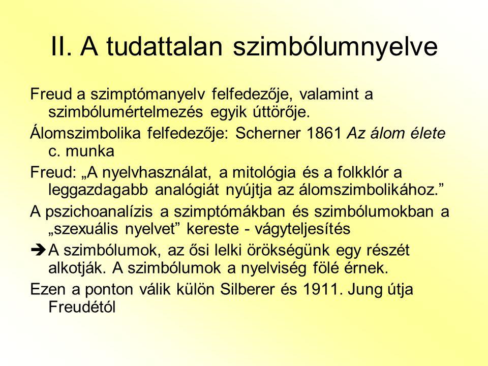 Silberer: A szimbólumok funkcionális kategóriájának célszerűségének bemutatása – A szimbólumok különböző szinten értelmezendők.