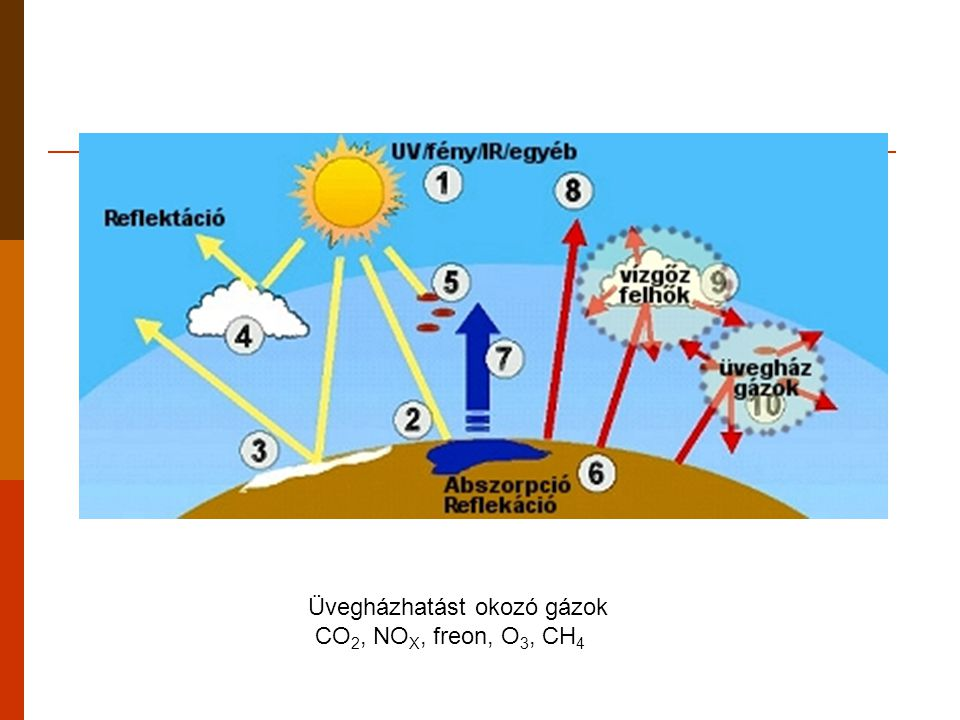 Az üvegházhatásért felelős legfontosabb gázok gázÁtlagos koncentráció a Föld légkörében (ppm)Éghajlati kényszer (az adott gáz üvegházhatása a CO 2 -hoz viszonyítva) Iparositás előtt19801993Becslés 2030-ra szén-dioxid2903393634501 metán0,71,551,702,4-2,921 nitrogén-oxidok0,280,300,310,50206 freonok-0,00150,0017-0,00300,0035-0,006025000 ózon00,030,0350,042000