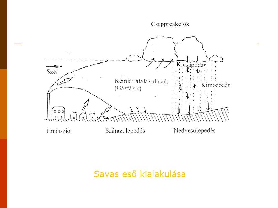  savas eső gyűjtőfogalom  száraz savas szennyeződés  pH < 5,6  savasság függ  A savas eső környezeti és egészségi károsodást okozó hatása több tényezőre vezethető vissza.