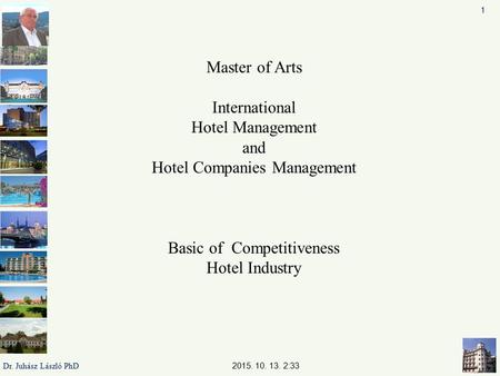 Master of Arts International Hotel Management and Hotel Companies Management Basic of Competitiveness Hotel Industry 2015. 10. 13. 2:35 1 Dr. Juhász László.