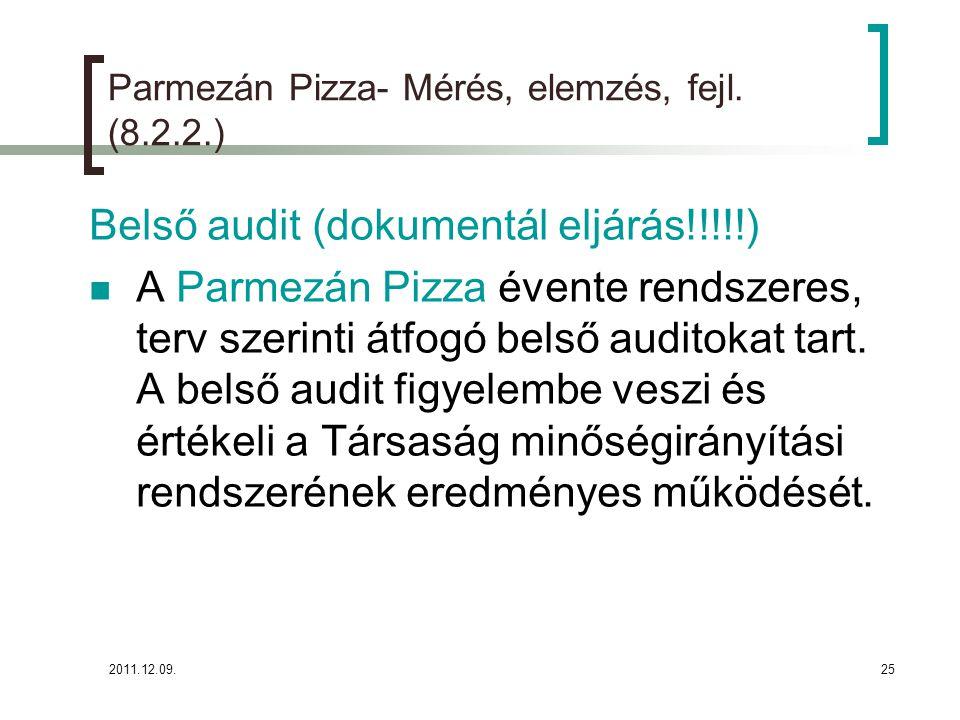 """2011.12.09.26 Parmezán Pizza- Mérés, elemzés, fejlesztés (8.2.2.) A belső auditokat minden év januárjának végéig megtervezzük és """"Belső audit terven rögzítjük."""