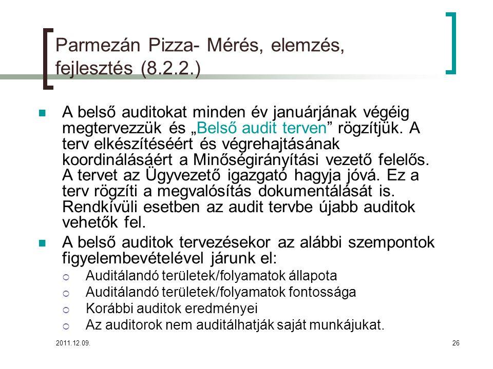 2011.12.09.27 Parmezán Pizza- Mérés, elemzés, fejlesztés (8.2.2.) Belső audit Az auditok kritériumai, gyakorisága:  Minden terület minimálisan 1x felül legyen vizsgálva egy évben.