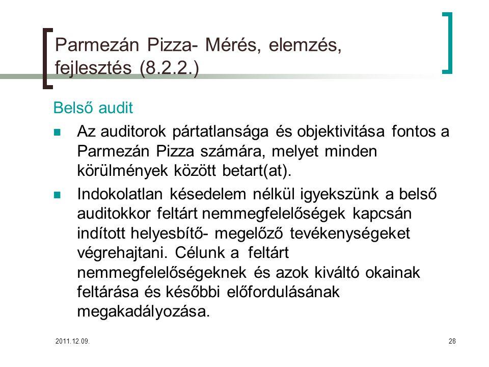 2011.12.09.29 Parmezán Pizza- Mérés, elemzés, fejlesztés (8.2.2.) Belső audit terv Sorsz.TerületAuditorIdőpontKorrekció felelőse(i) Korr.