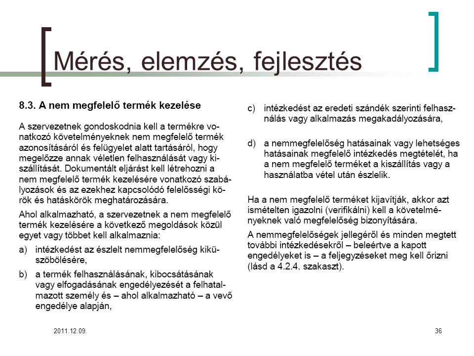2011.12.09.37 Parmezán Pizza- Mérés, elemzés, fejlesztés (8.3.) Nem megfelelő termék kezelése (kötelező eljárás!!!!) A Parmezán Pizza munkatársai az ellenőrzési tevékenységek során felismerik a követelményeknek nem megfelelő termékeket és folyamatokat, gondoskodnak azonosításukról és felügyelet alatt tartásukról a célból, hogy megakadályozzák véletlen felhasználásukat vagy kiszállításukat.
