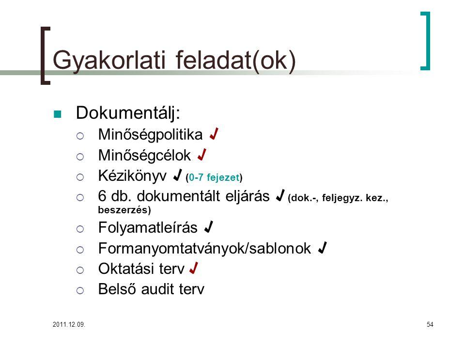 2011.12.09.55 Felhasznált irodalom: MSZ EN ISO 9001:2009 MSZ EN ISO 9000:2005 Koczor Z.: Minőségirányítási rendszerek fejlesztése (TÜV Rheinland Akadémia Kft., Budapest, 2001) http://www.pmmf.hu/letolt/iso/ISO_9001_HONLAP.pdf http://eur- lex.europa.eu/LexUriServ/LexUriServ.do?uri=OJ:C:2008:040 :0017:0025:HU:PDF http://eur- lex.europa.eu/LexUriServ/LexUriServ.do?uri=OJ:C:2008:040 :0017:0025:HU:PDF