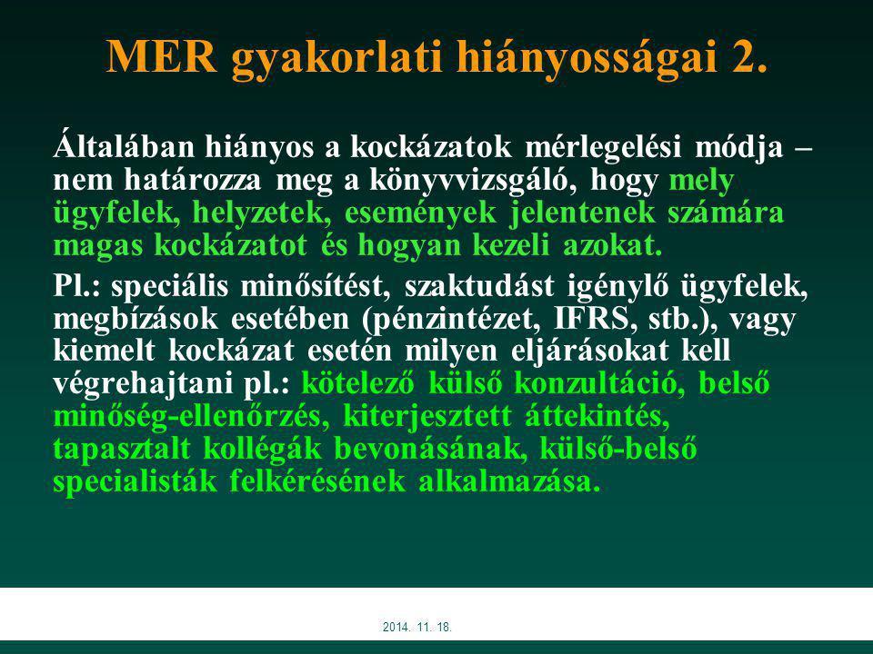 2014.11. 18. MER gyakorlati hiányosságai 3.