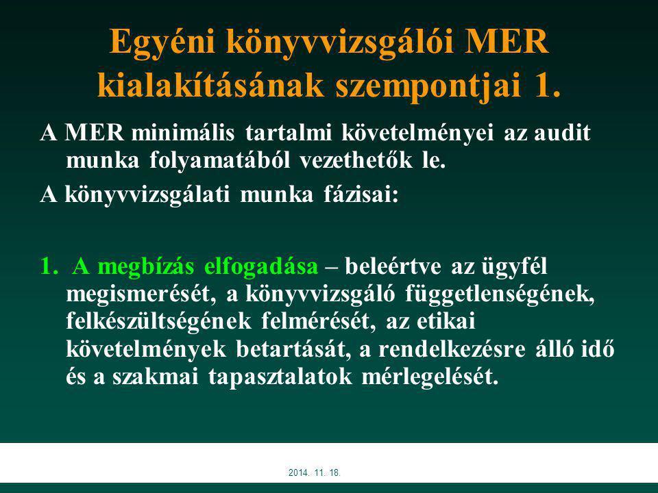 2014.11. 18. Egyéni könyvvizsgálói MER kialakításának szempontjai 2.