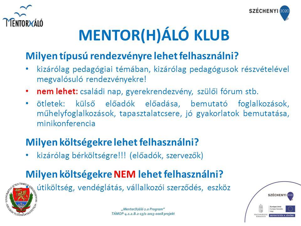 MENTOR(H)ÁLÓ KLUB Tervezés: előzetes tervet kérünk 2014.