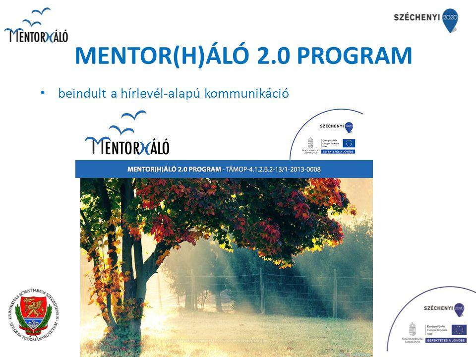 MENTOR(H)ÁLÓ 2.0 PROGRAM képzések meghirdetése és beindítása (képzési keretszámok jelentős megnövelésével) Gyakorlatvezető mentor szakirányú továbbképzési szak - JGYPK (2 féléves): Baja – 1 csoport, Szeged - 2 csoport Gyógypedagógus szakvizsga – gyakorlatvezető gyógypedagógiai mentor szakirányú továbbképzési szak - JGYPK (4 féléves): Szeged - 1 csoport Mentorpedagógus pedagógus-szakvizsgára felkészítő szakirányú továbbképzési szak - KÖVI – szakvizsgázottak részére (2 féléves): Szeged - 1 csoport Mentorpedagógus pedagógus-szakvizsgára felkészítő szakirányú továbbképzési szak - KÖVI – szakvizsgával nem rendelkezők részére (4 féléves): Szeged – 3 csoport (2 csoport őszi, 1 csoport februári indulással) 218 fő részére 2 félévnyi ingyenes képzés!